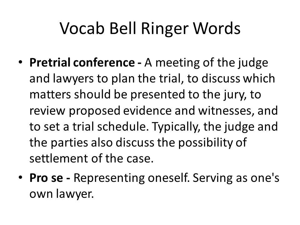 Vocab Bell Ringer Words