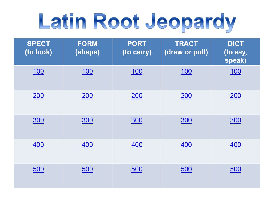 Latin Root Jeopardy SPECT (to look) FORM (shape) PORT (to carry) TRACT