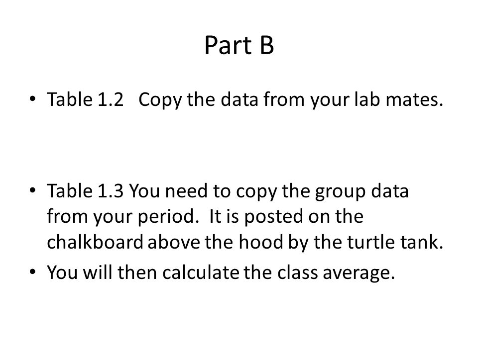 Part B Table 1.2 Copy the data from your lab mates.