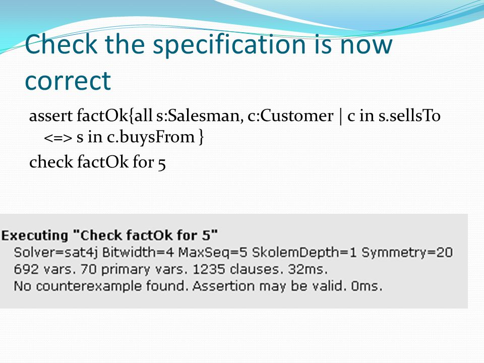 Check the specification is now correct
