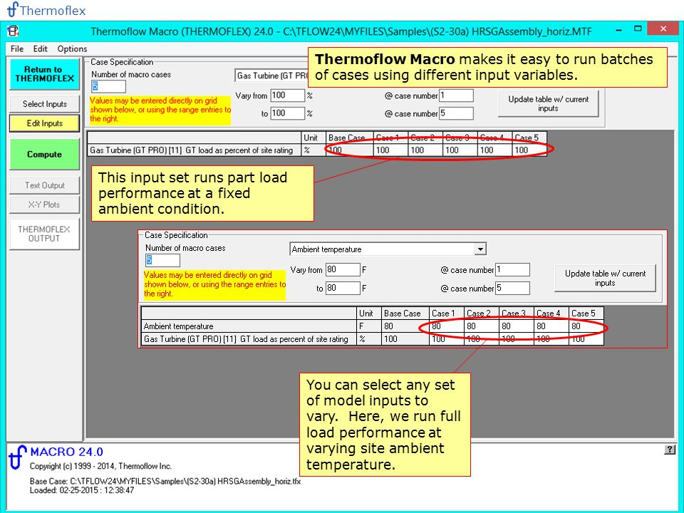 Thermoflex Thermoflow Macro makes it easy to run batches of cases using different input variables.