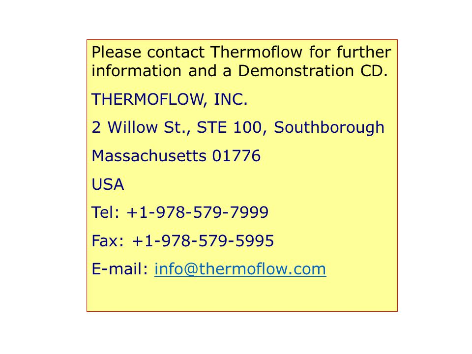 Please contact Thermoflow for further information and a Demonstration CD.