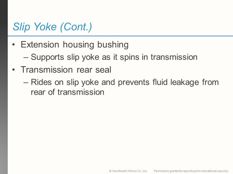 Slip Yoke (Cont.) Extension housing bushing Transmission rear seal