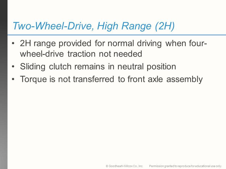 Two-Wheel-Drive, High Range (2H)