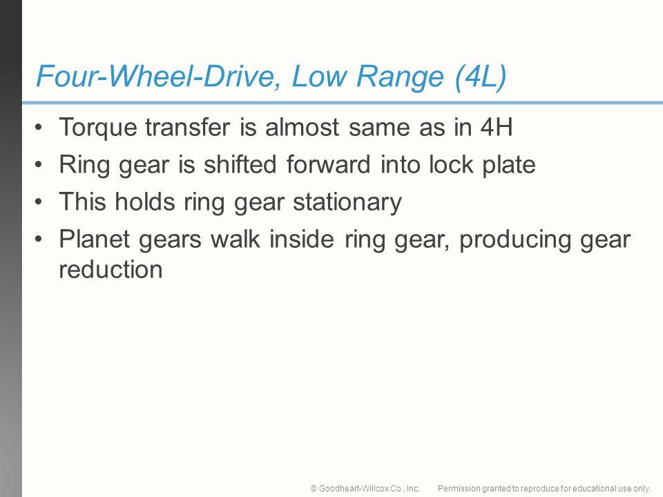 Four-Wheel-Drive, Low Range (4L)