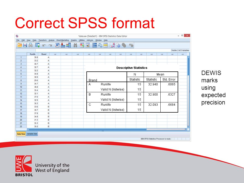 Correct SPSS format DEWIS marks using expected precision