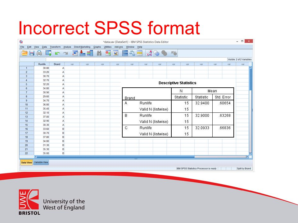 Incorrect SPSS format