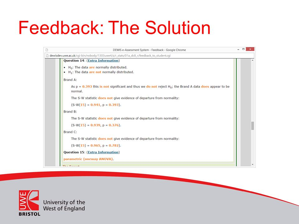 Feedback: The Solution
