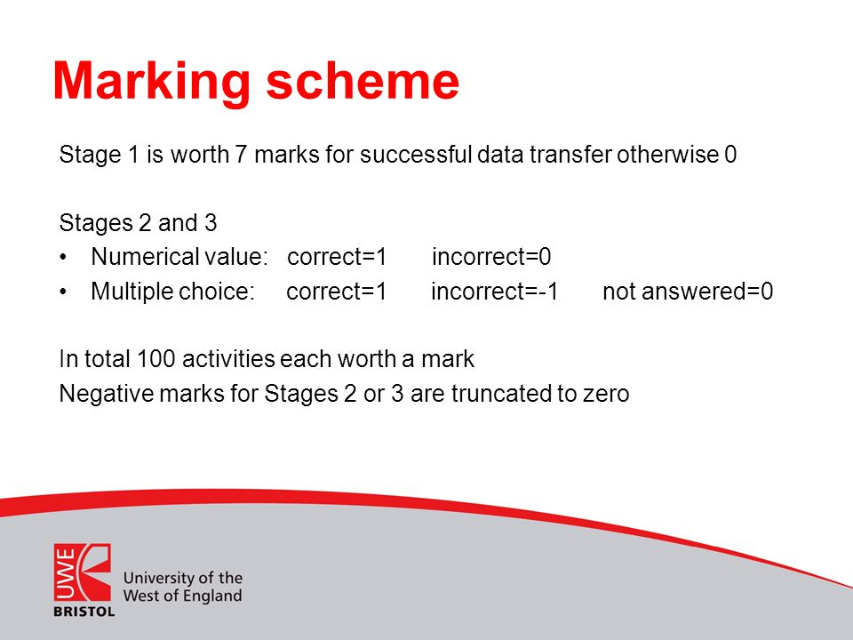 Marking scheme Stage 1 is worth 7 marks for successful data transfer otherwise 0 Stages 2 and 3. Numerical value: correct=1 incorrect=0.
