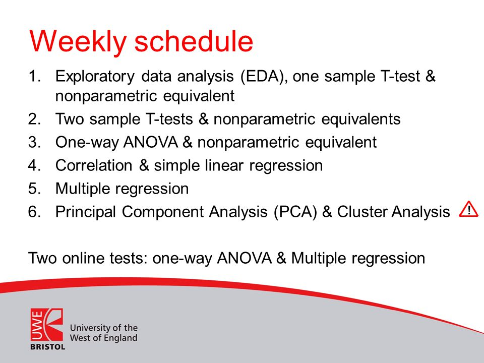 Weekly schedule Exploratory data analysis (EDA), one sample T-test & nonparametric equivalent. Two sample T-tests & nonparametric equivalents.
