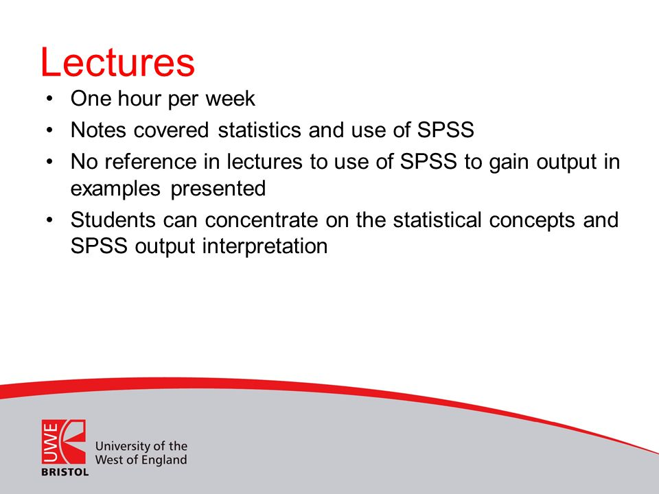 Lectures One hour per week Notes covered statistics and use of SPSS