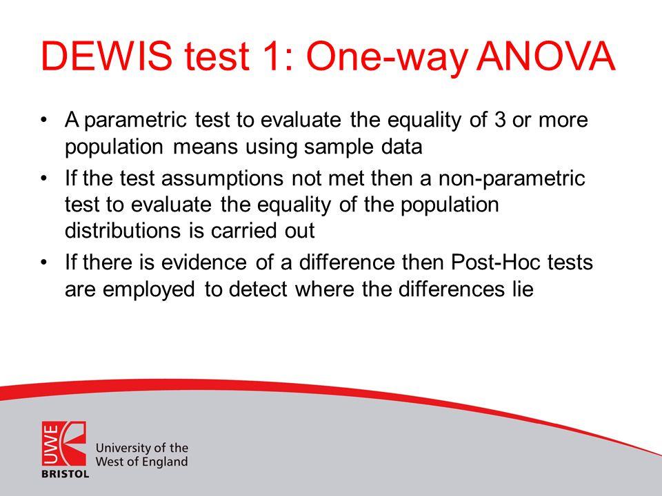 DEWIS test 1: One-way ANOVA
