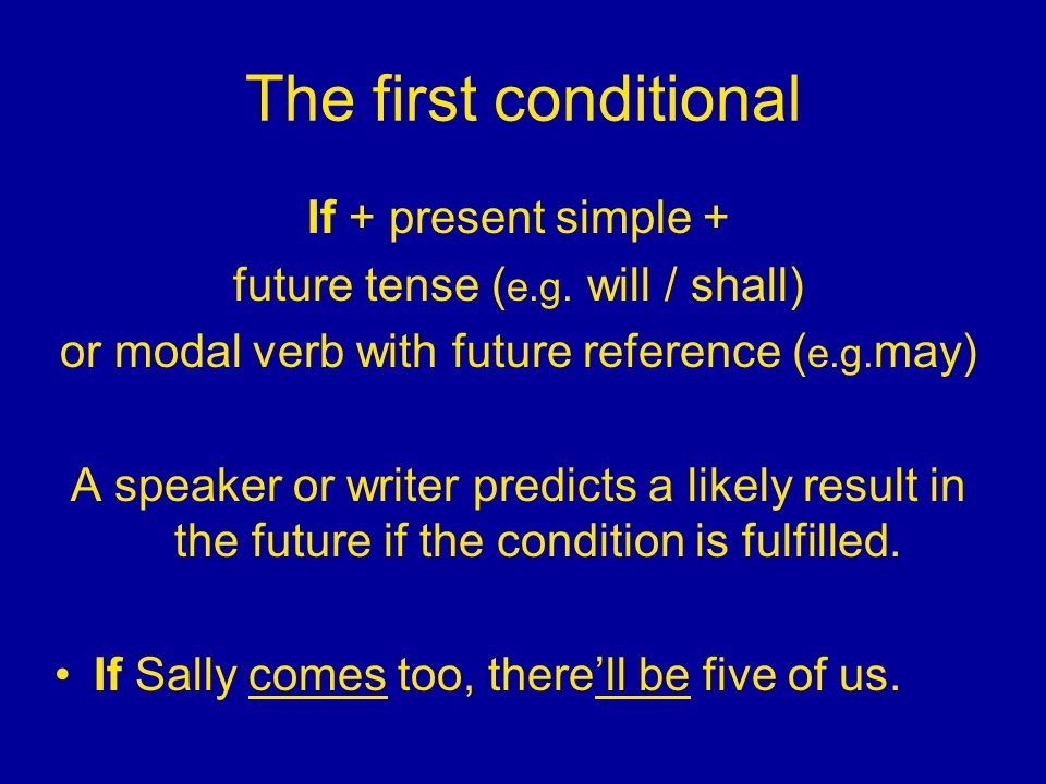 The first conditional If + present simple +