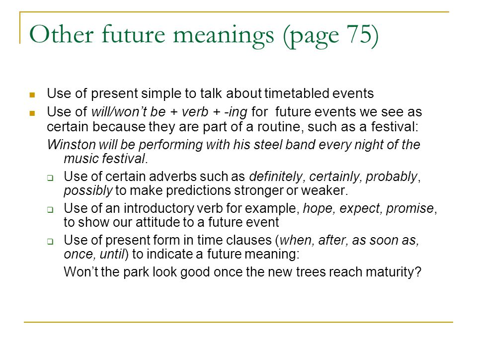 Other future meanings (page 75)