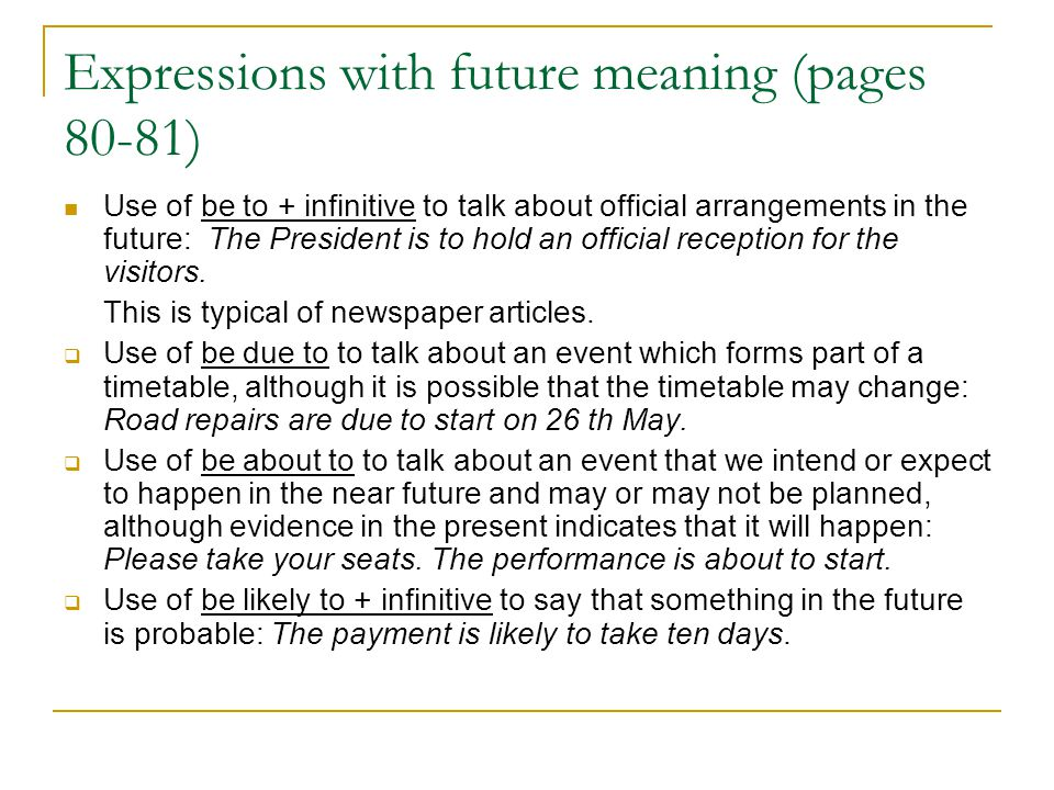 Expressions with future meaning (pages 80-81)