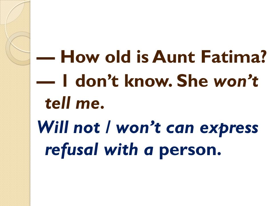— How old is Aunt Fatima. — 1 don't know. She won't tell me