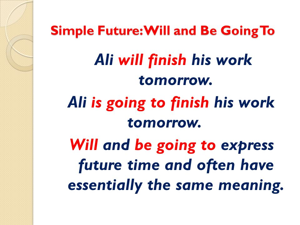 Simple Future: Will and Be Going To