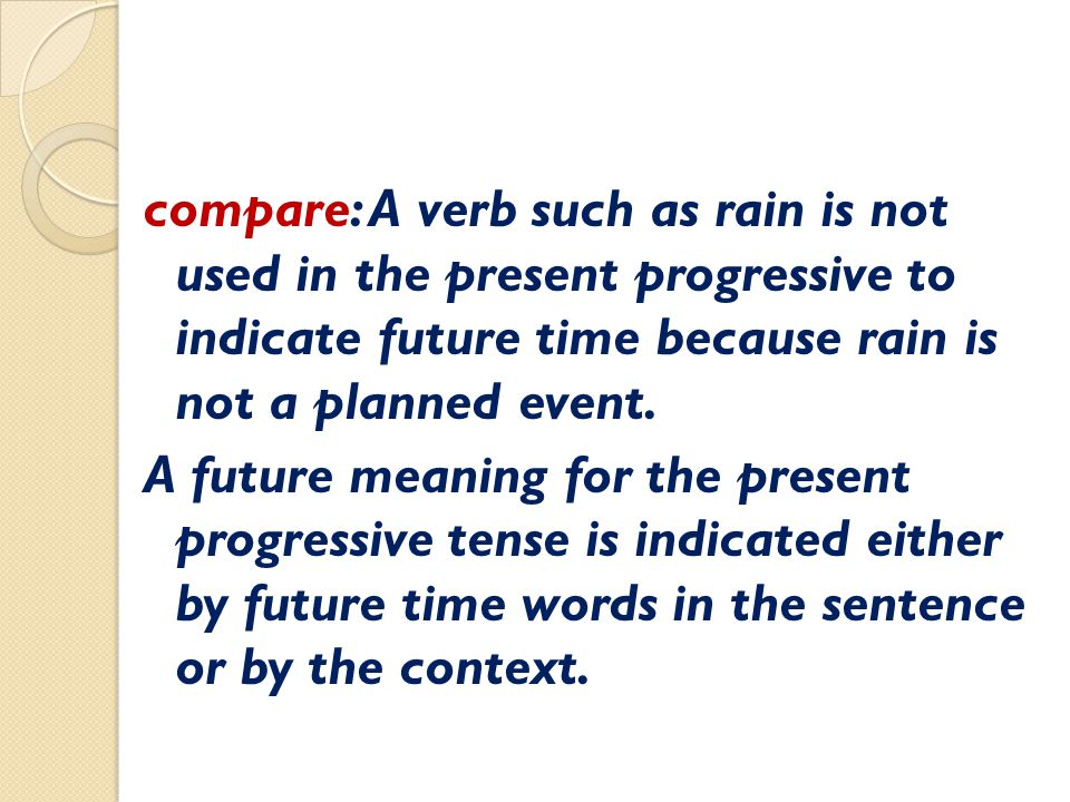 compare: A verb such as rain is not used in the present progressive to indicate future time because rain is not a planned event.
