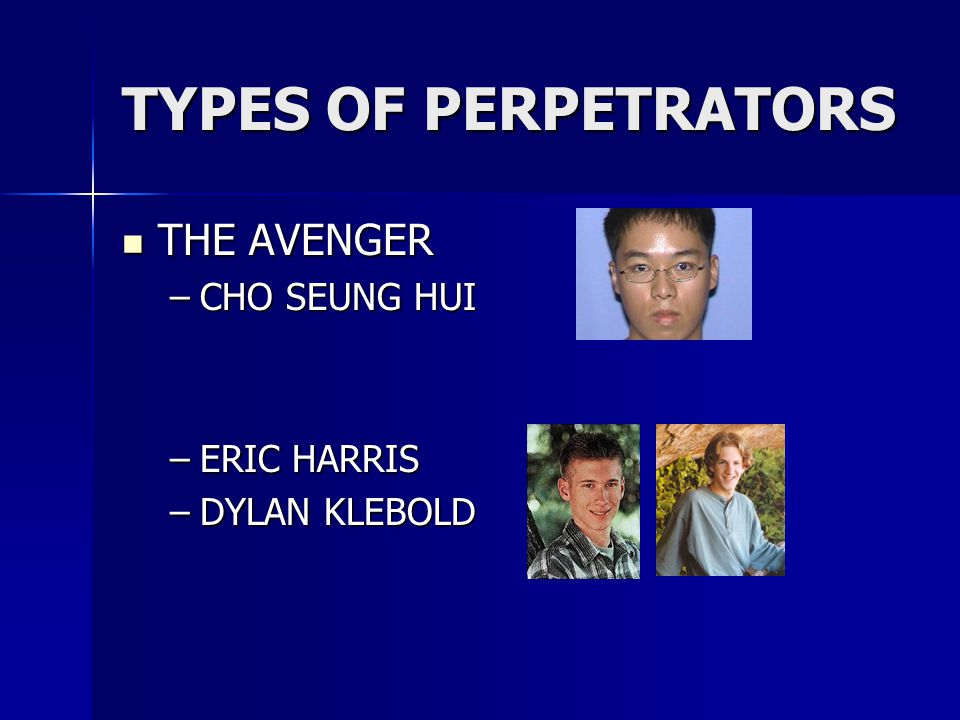 TYPES OF PERPETRATORS THE AVENGER CHO SEUNG HUI ERIC HARRIS