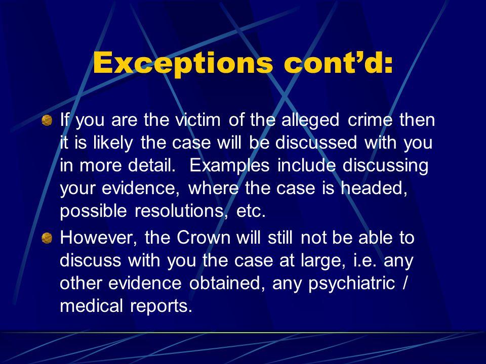 Exceptions cont'd: