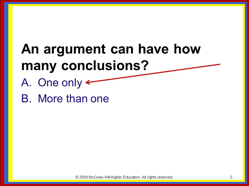 An argument can have how many conclusions
