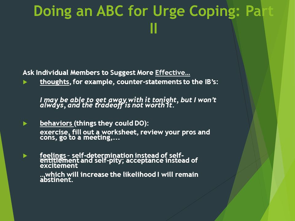 Doing an ABC for Urge Coping: Part II