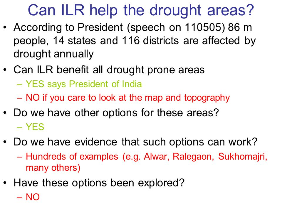 Can ILR help the drought areas