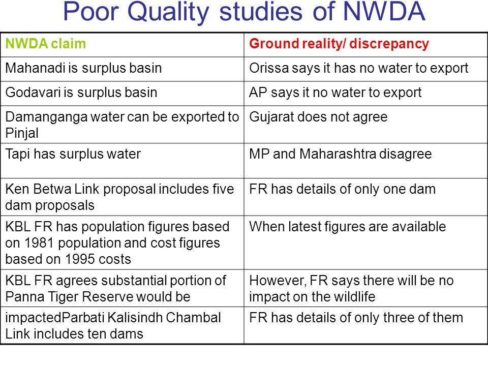 Poor Quality studies of NWDA