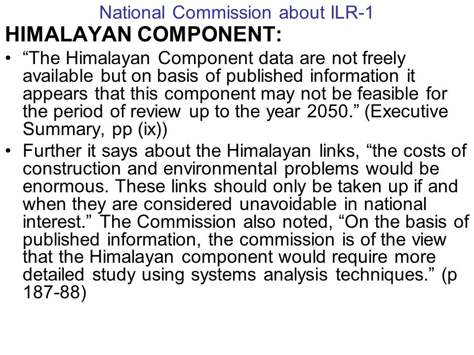 National Commission about ILR-1