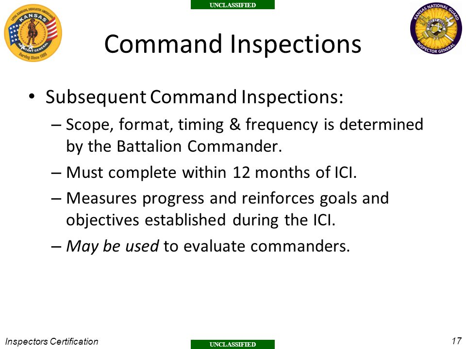 Command Inspections Subsequent Command Inspections: