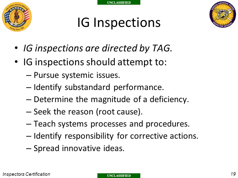 IG Inspections IG inspections are directed by TAG.