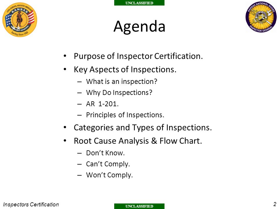 Agenda Purpose of Inspector Certification. Key Aspects of Inspections.