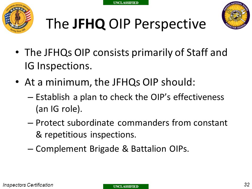 The JFHQ OIP Perspective