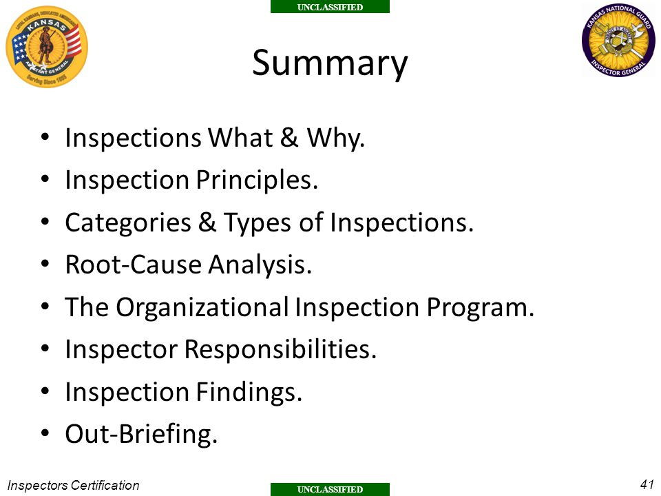 Summary Inspections What & Why. Inspection Principles.