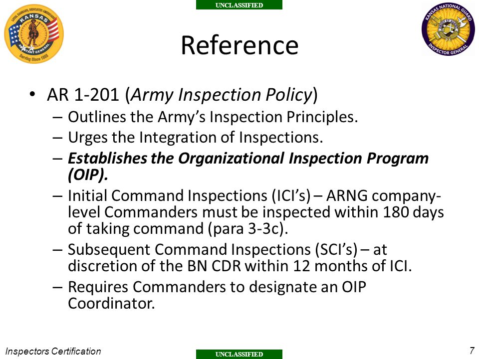 Reference AR 1-201 (Army Inspection Policy)
