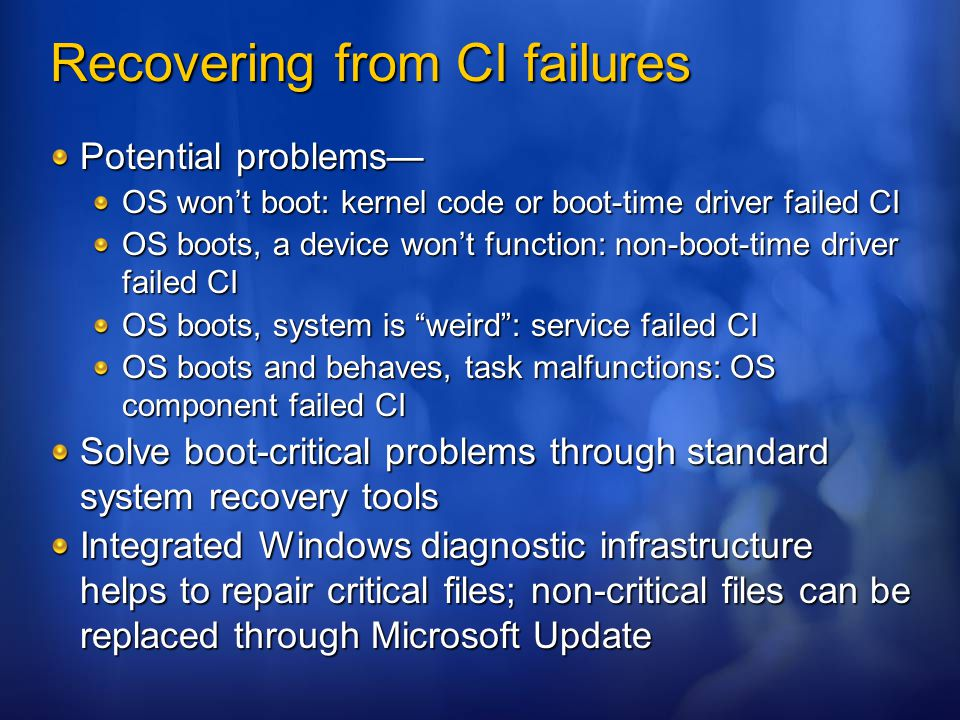 Recovering from CI failures