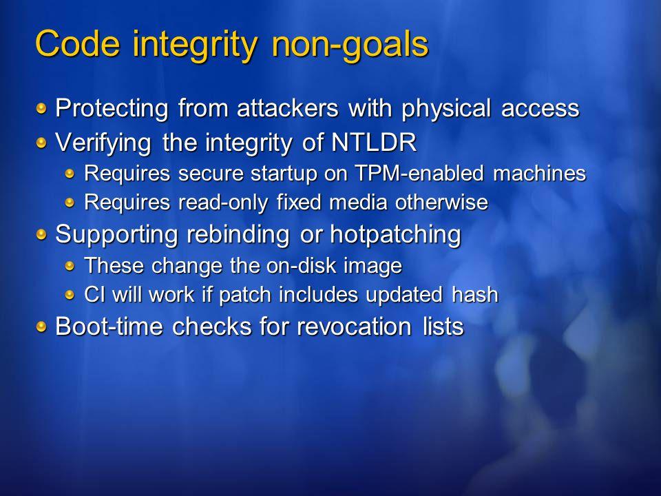 Code integrity non-goals