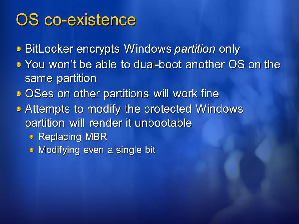 OS co-existence BitLocker encrypts Windows partition only