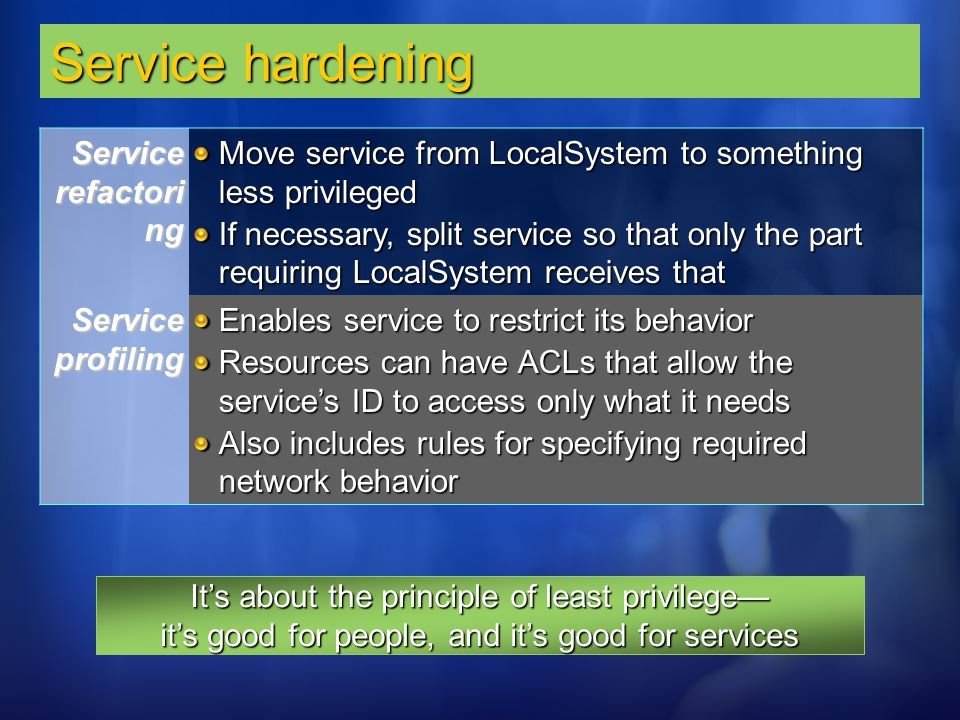 Service hardening Service refactoring