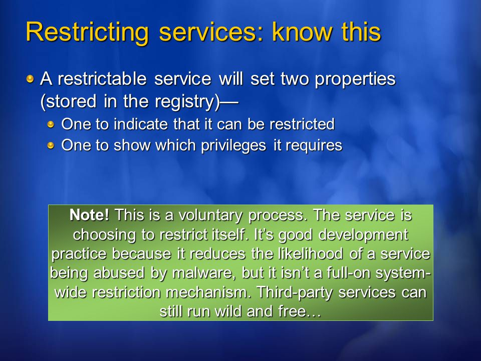 Restricting services: know this