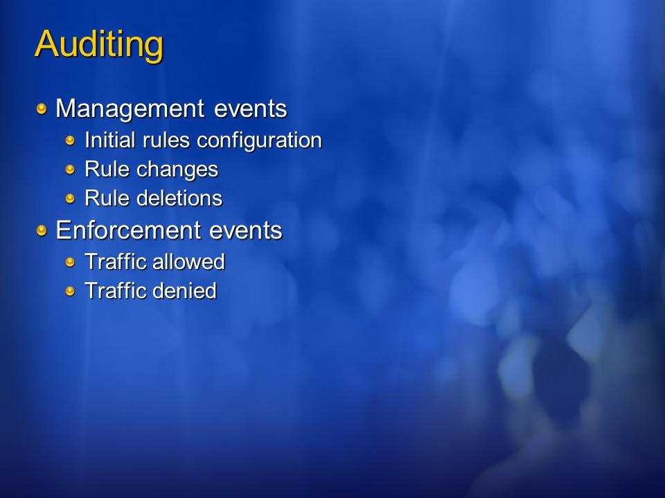 Auditing Management events Enforcement events