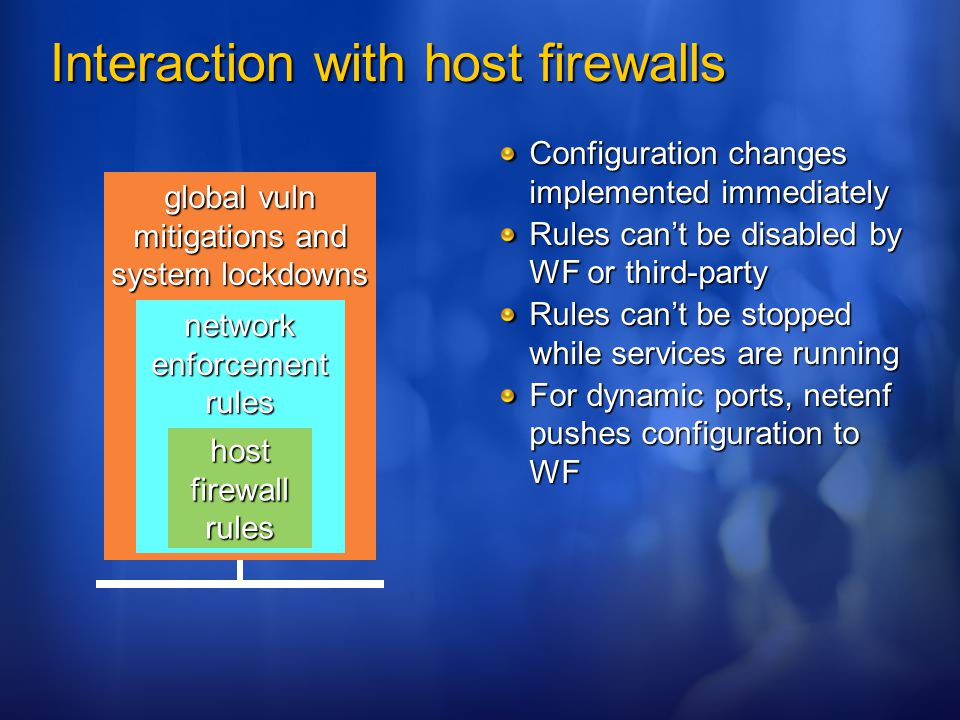 Interaction with host firewalls