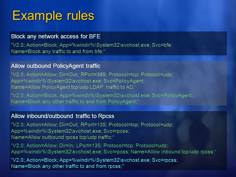 Example rules Block any network access for BFE
