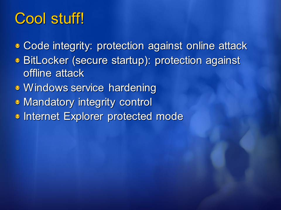 Cool stuff! Code integrity: protection against online attack
