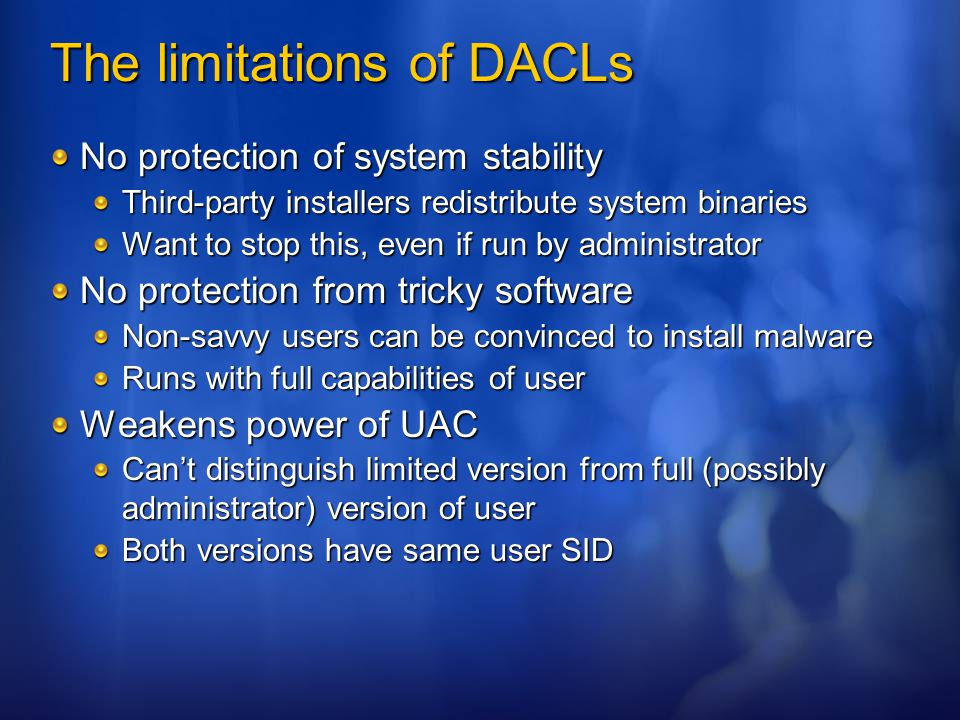 The limitations of DACLs