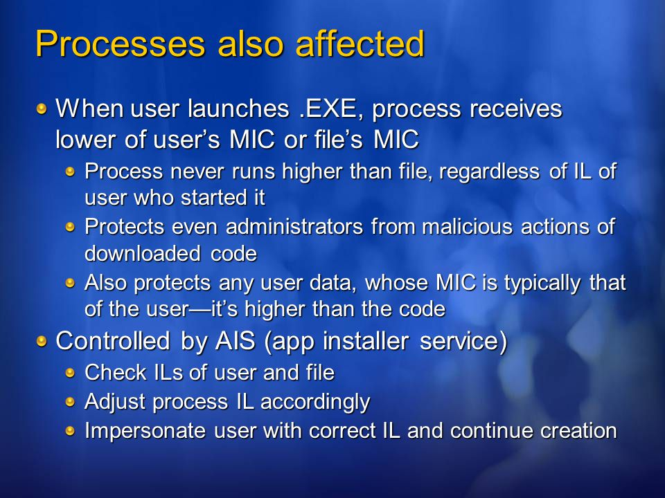 Processes also affected