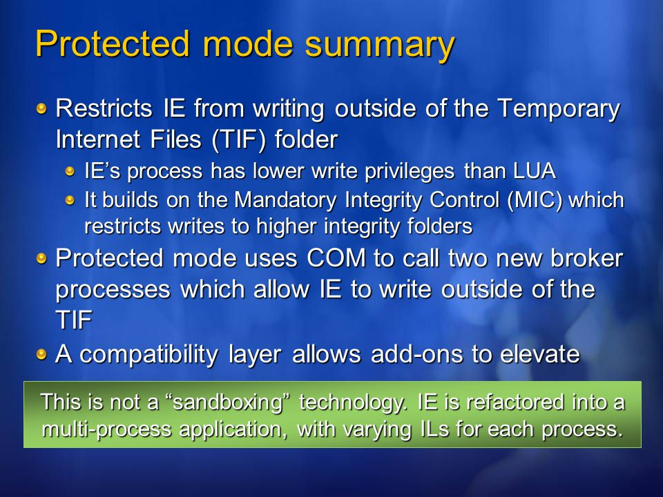 Protected mode summary