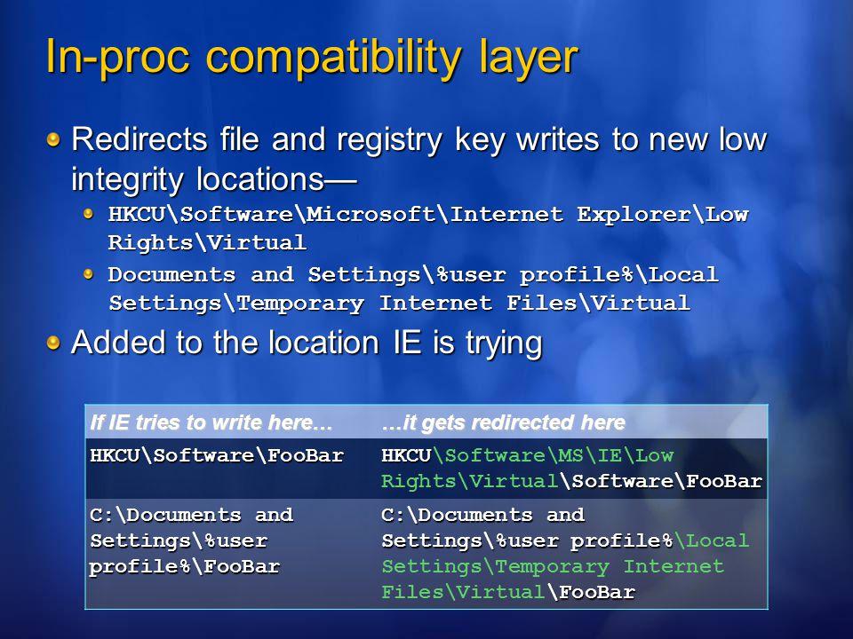 In-proc compatibility layer