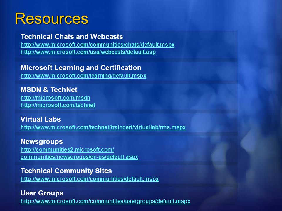 Resources Technical Chats and Webcasts