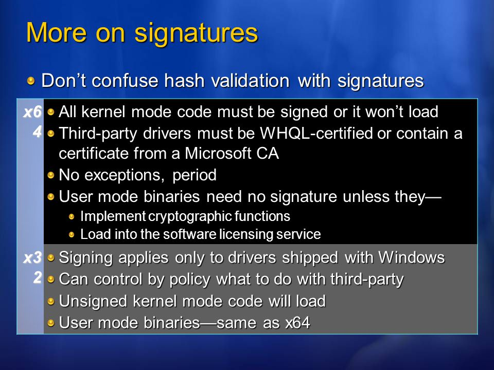 More on signatures Don't confuse hash validation with signatures x64